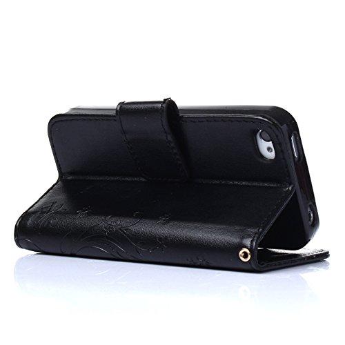 MOONCASE iPhone SE Hülle Blume Premium PU Leder Schutzhülle für iPhone SE / 5S/ 5 Bookstyle Tasche Schale TPU Case mit Standfunktion Teal Schwarz