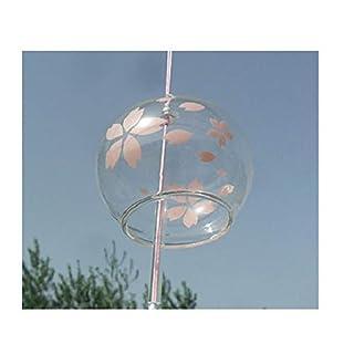 Japanische Wind Chimes Windspiel Glocken, Handgefertigt, Glas, Geburtstagsgeschenk Weihnachtsgeschenk Decors Home Japanische Kirschblüte Windspiel, Pink mit Blumen