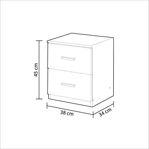Habitdesign 007820BO - Mesita de noche dos cajones Ward.E, color blanco brillo, 45 x 38 x 34 cm