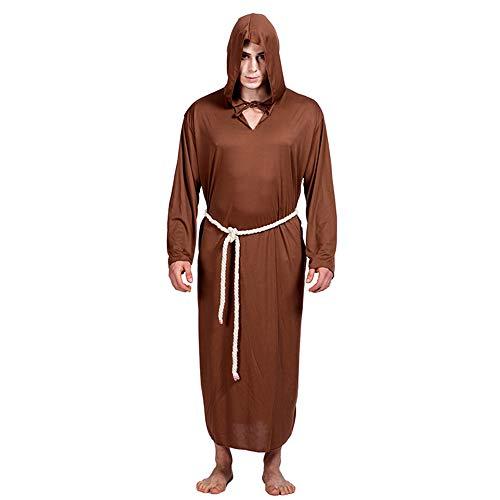 Prediger Kostüm - JFQ-Party Mask Halloween Kostüm Rollenspiel Prediger, Themenabende Modenschau Requisiten,Braun,M