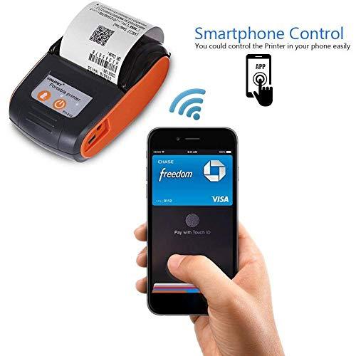 Mini-Thermodrucker, 58 mm Mini-Thermodrucker Tragbarer drahtloser Bluetooth-Thermodrucker USB-Empfangsdrucker unterstützt Android, IOS Windows, die mit ESC/POS für Office und Business kompatibel