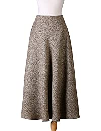 dae35a909 Nantersan Women's Solid Color Wool Skirt High Waist Skirts for Ladies  A-line Full Length