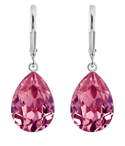 petra kupfer Damen Ohrringe Ohrhänger Tropfen Anhänger 1 Swarovski®-Kristall Rosa Rose Versilbert rdh1-rose (X-ring Swarovski)