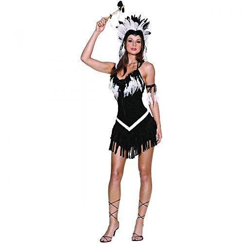 Kostüm INDIANERIN SCHWARZ/WEISS mit FEDERN, Größe:38/40