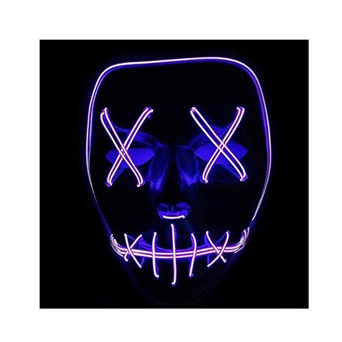 Queta Halloween Maske LED Light EL Wire Cosplay Maske Purge Mask für Festival Cosplay Halloween Kostüm (Lila)