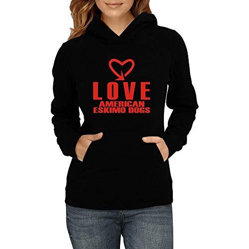 Idakoos Love American Eskimo Dogs cool Style Damen Kapuzenpullover M -