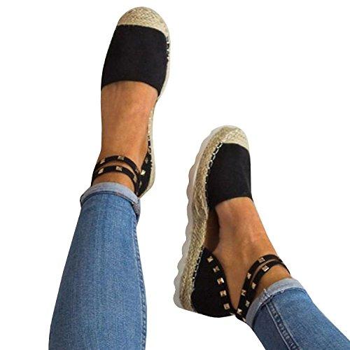 Pxmoda Frauen Bandage Knöchel Wrap Espadrille Flachen Sandalen Flip-Flop Sommer Lace up Platform Sandalen (36, - Wedges Frauen Schuhe Sandalen
