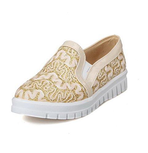 AllhqFashion Damen Weiches Material Rund Zehe Niedriger Absatz Ziehen Auf Rein Pumps Schuhe Golden