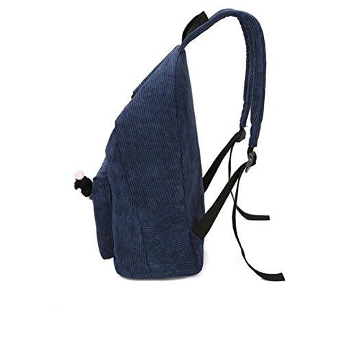 Velluto In Vita Borsa, Donne Velluto A Coste Zaino Ragazza Scuola Fashion Bag Zaino Viaggio Borse di Kangrunmy Blu