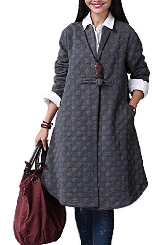 Voguees Femme Cusual Manches Longue Trench Coat avec un Bouton Style-1 Noir