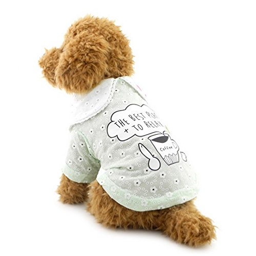 SELMAI Welpen T-shirt für Kleine Hund Katze Floral Shirt Pet Baumwolle Kleidung Grün S -