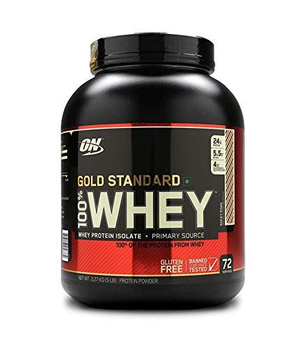 Optimum Nutrition Gold Standard Whey Eiweißpulver (mit Glutamin und Aminosäuren, Protein Shake von ON), Rocky Road Eiweiß, 72 Portionen, 2,27kg