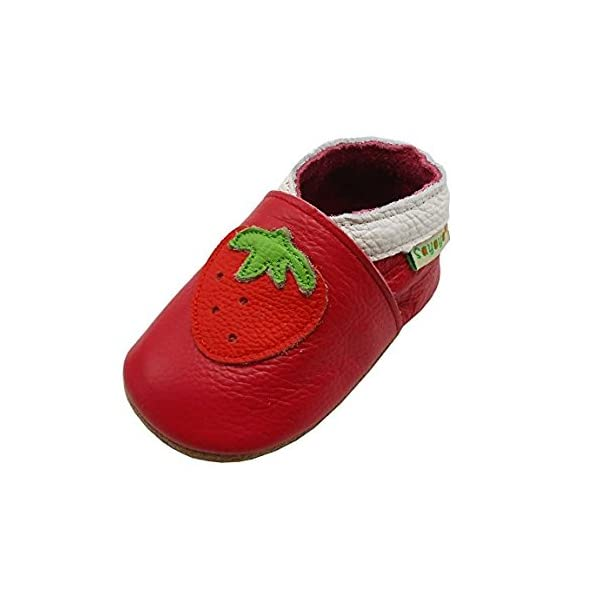 Sayoyo Strawberries Soft Sole Leather Shoes Baby for Girls Toddlers