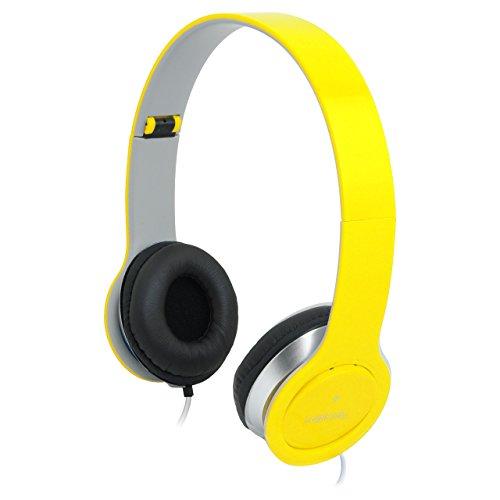 Auriculares de diadema amarillos cerrados con micrófono