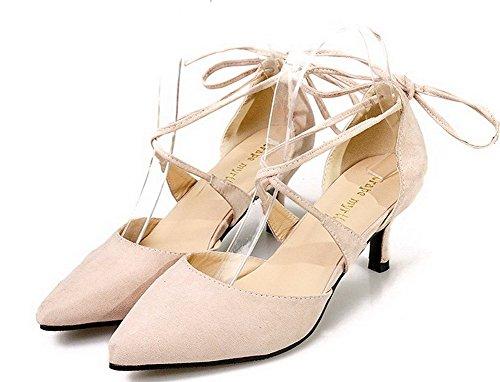 AalarDom Damen Hoher Absatz Spitz Zehe Schnüren Rein Pumps Schuhe Aprikosen Farbe