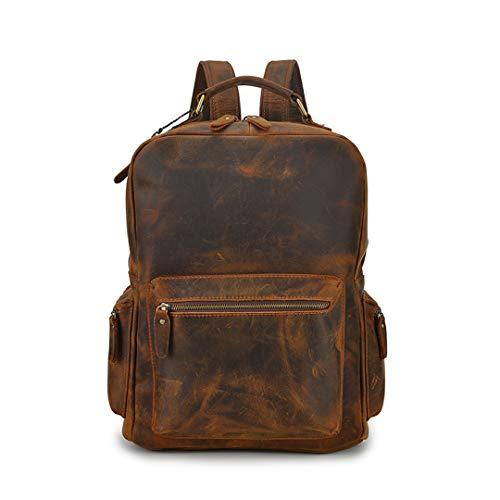 Erste Schicht Kuh Leder Rucksäcke Vintage Rucksäcke für die Reise Retro Daypacks Schultasche Brown