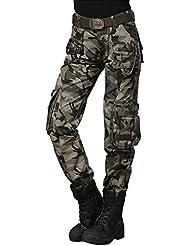 Femmes Camouflage Cargo Pantalon - hibote combat Pantalon Multifunctions Pantalons Trekking d'extérieur pour l'alpinisme Camping