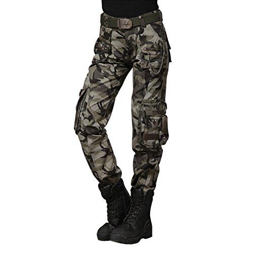 Damen Camouflage Cargohose Outdoorhose - hibote Multifunktionen Combat Cargo Hose Winterhose Softshellhose Trekkinghose Wanderhose für Camping Bergsteigen