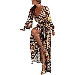 Slyar Vestido Profundo V De Sexy Vestido con Escote Falda Estampada Vestido Dividido Vestido Grande Vestidos De Fiesta Mujer Tallas Grandes Vestido De Moda