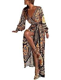 7a981f7702ac3 Donna Sottile Vestito con Aberturas Abito Maxi di Pizzo Senza Schienale  Vestiti da Cerimonia Abito da