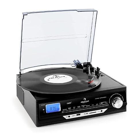 Auna TT-18BB Plattenspieler USB Schallplattenspieler zum digitalisieren (USB-SD-Slot, mit Radio, Lautsprecher, MP3-Encoding / Aufnahme, AUX, Fernbedienung)
