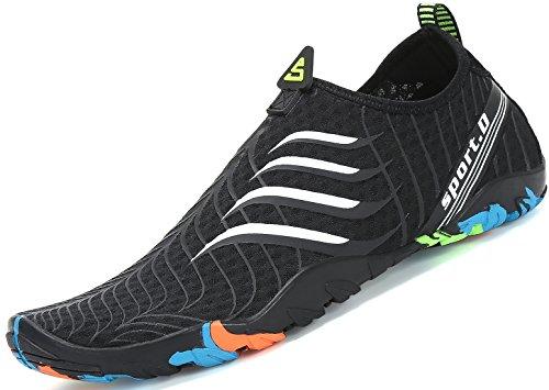 Zapatos de Agua para Buceo Snorkel Surf Piscina Playa Vela Mar Río Aqua Cycling Deportes Acuáticos Calzado de Natación Escarpines para Hombre Mujer Negro, 44 EU