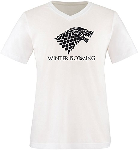 EZYshirt® Game of Thrones | Winter is coming | Schattenwolf Herren V-Neck T-Shirt Weiß/ Schwarz