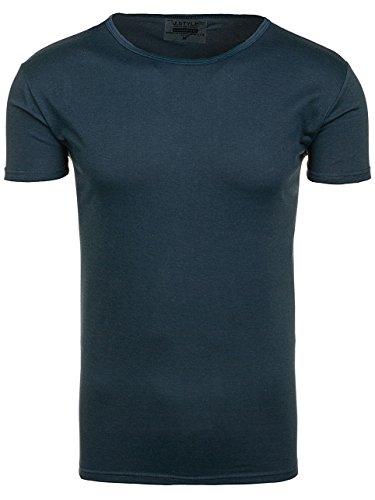 BOLF Herren T-Shirt Kurzarm Shirt Freizeit Figurbetont Slim Fit J. STYLE 2006 Dunkelblau S [3C3] |