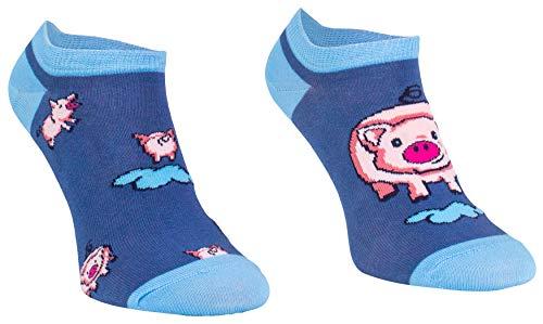 Comodo 3 Paar Lustige Kurze Socken | Witzige Bunte Socken | Funny Socks | Original | Geschenk | Baumwolle | Muster | SKS 43-46 002. | 3 Paar Kurz | Schwein -