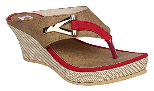 Digni plate-forme de mode de coin de glissement des femmes sur les sandales occasionnels Beige avec rouge