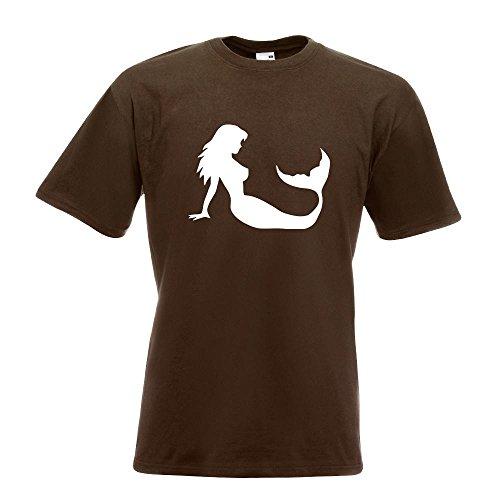 KIWISTAR - Meerjungfrau - Seejungfrau T-Shirt in 15 verschiedenen Farben - Herren Funshirt bedruckt Design Sprüche Spruch Motive Oberteil Baumwolle Print Größe S M L XL XXL Chocolate