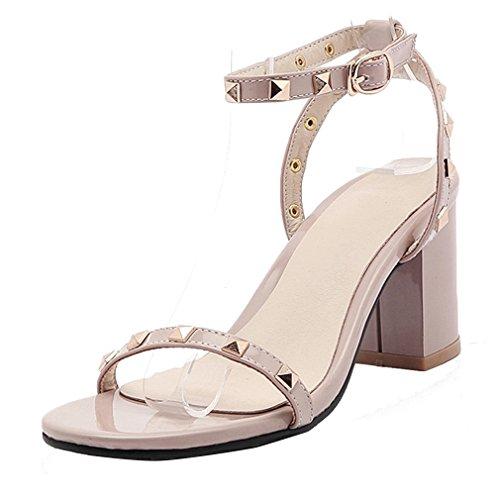 YE Damen Offen Knöchelriemchen Blockabsatz High Heels Sandalen mit Nieten und 7cm Absatz Sommer Schuhe Aprikose