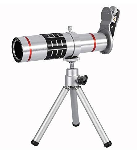 WYJ Handy-Kameraobjektiv-Kit Universelles Objektiv Mit 18Fach Optischem Zoom Und Teleobjektiv Mit Stativ,Silber,Fernrohr