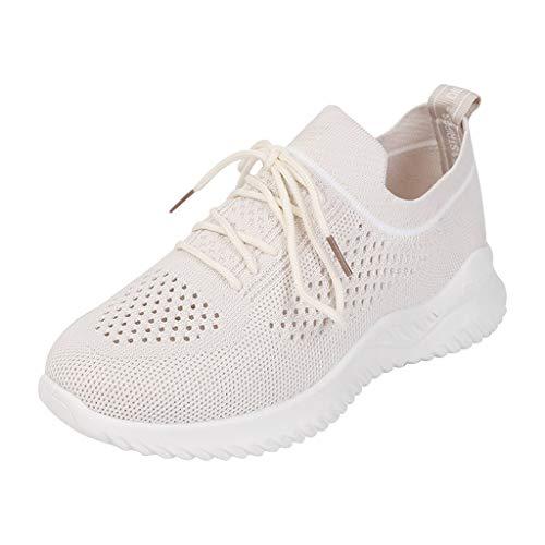 Turnschuhe Damen Freizeitschuhe Schnüre Laufschuhe Atmungsaktiv Sportschuhe rutschfest Wanderschuhe Leichte Mesh Bequeme Schuhe Slip Ons Sneakers (EU:37, Weiß)