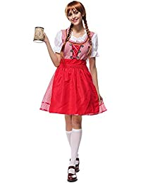 Donsinn Women Traditional Dirndl, One-Pieces Dress for Oktoberfest Bavarian Carnival Party