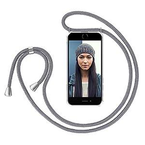 """ZhinkArts Handykette kompatibel mit Apple iPhone 7 Plus / 8 Plus - 5,5"""" Display - Smartphone Necklace Hülle mit Band - Handyhülle Case mit Kette zum umhängen in Grau"""