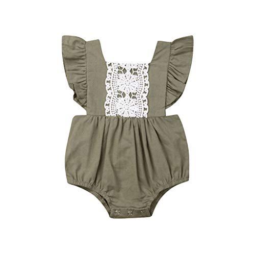 ❤❤JiaMeng Neugeborene Baby Mädchen Kleider Prinzessin Sommer Party Spielanzug Baumwolle Strampler ärmellose Spitze Bodys Einteiliger(3M-24M) (Machen 10 Zu Top Halloween-kostüme Leicht)