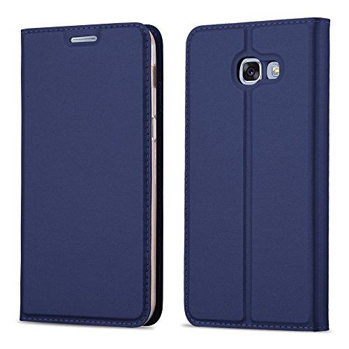 Cadorabo Hülle für Samsung Galaxy A3 2017 (7) - Hülle in DUNKEL BLAU - Handyhülle mit Standfunktion und Kartenfach im Metallic Look - Case Cover Schutzhülle Etui Tasche Book Klapp Style -