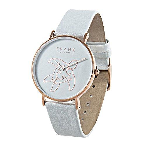 FRANK London Damen Rose Gold Meer Schildkröte Quarzuhr mit grau Lederband und grau Zifferblatt