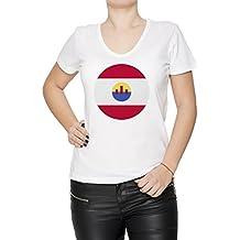 Francés Polinesia Nacional Bandera Mujer Camiseta V-Cuello Blanco Manga Corta Todos Los Tamaños Womens