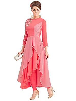 Clothfab Women's Georgette Pink Kurta (Pink-9919_X-Large) - Pink There might be slight color variation due to lightings & flash while photo shoot