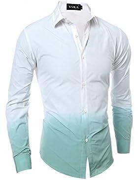 Ocio de Hombres camiseta de manga larga de algodón puro de camisas de rayas
