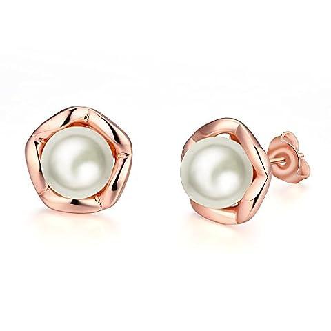 YAYA Pearls Multi-Coloured Freshwater Pearl Silver Stud Earrings( Rose Gold Plated1.2Cmx1.2Cm )