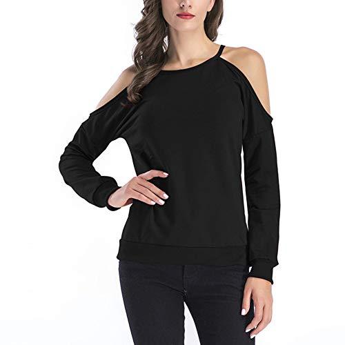 ESAILQ Frauen Schulterfrei Lace Top Langarm Bluse Damen Casual Tops Shirt (S, ()