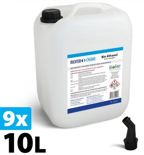 90L (9x10L) Bioethanol 100% - Markenprodukt BioFair - geprüfte Laborqualität - GRATIS VERSAND