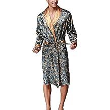 VERNASSA Nuevo Baño para Hombre,Satén Kimono Pijamas, Bata Albornoz de Para Dormir/