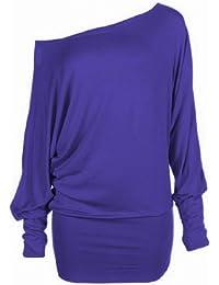 Funky Boutique Damen lange schulterfreies Einfach Batwing Top Größe 44-54: Farbe - Lila : Größe - 20-22 XXL