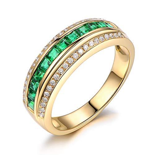 18K Gelbgold Jubiläum Ehering Ring Smaragd Diamant Ring Hochzeit Verlobungsgeschenk für Frau,O