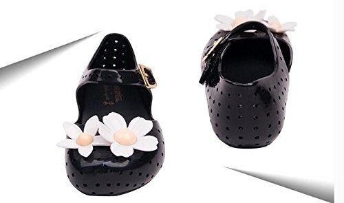 Ohmais Enfant bébé fille Flattie sandale été plat Flops Sandales imperméable en PVC Noir