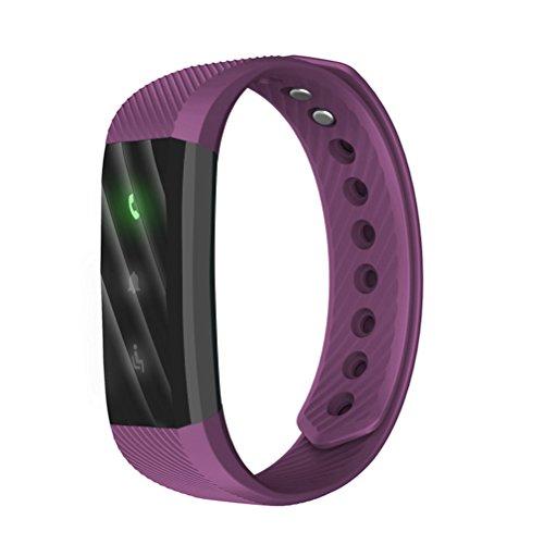 WINOMO Smart Armband ID115Lite Wristband Anti-verlorene Fernkamera Sitzende Erinnerung Schrittzähler Kalorienzähler Schlaf Monitor Anruf Erinnerung SMS Sync für Android 4.5 IOS 8.0 (Lila)